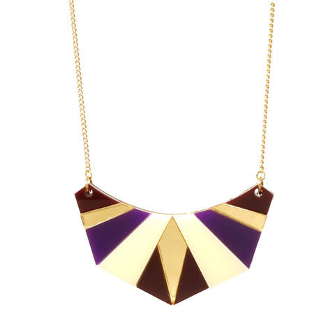 Geometric Acrylic Egyptian Necklace in Purple Gold Cream