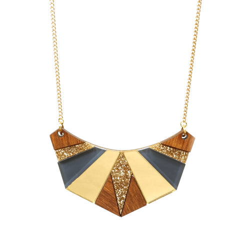 Wooden and Acrylic Geometric Egyption Necklace in Gold, Navy and Wood