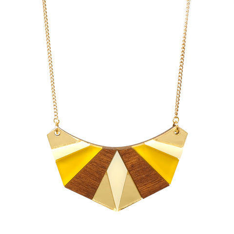 Wood and Acrylic Geometric Acrylic Necklace in Yellow Saffron and Gold Mirror Acrylic