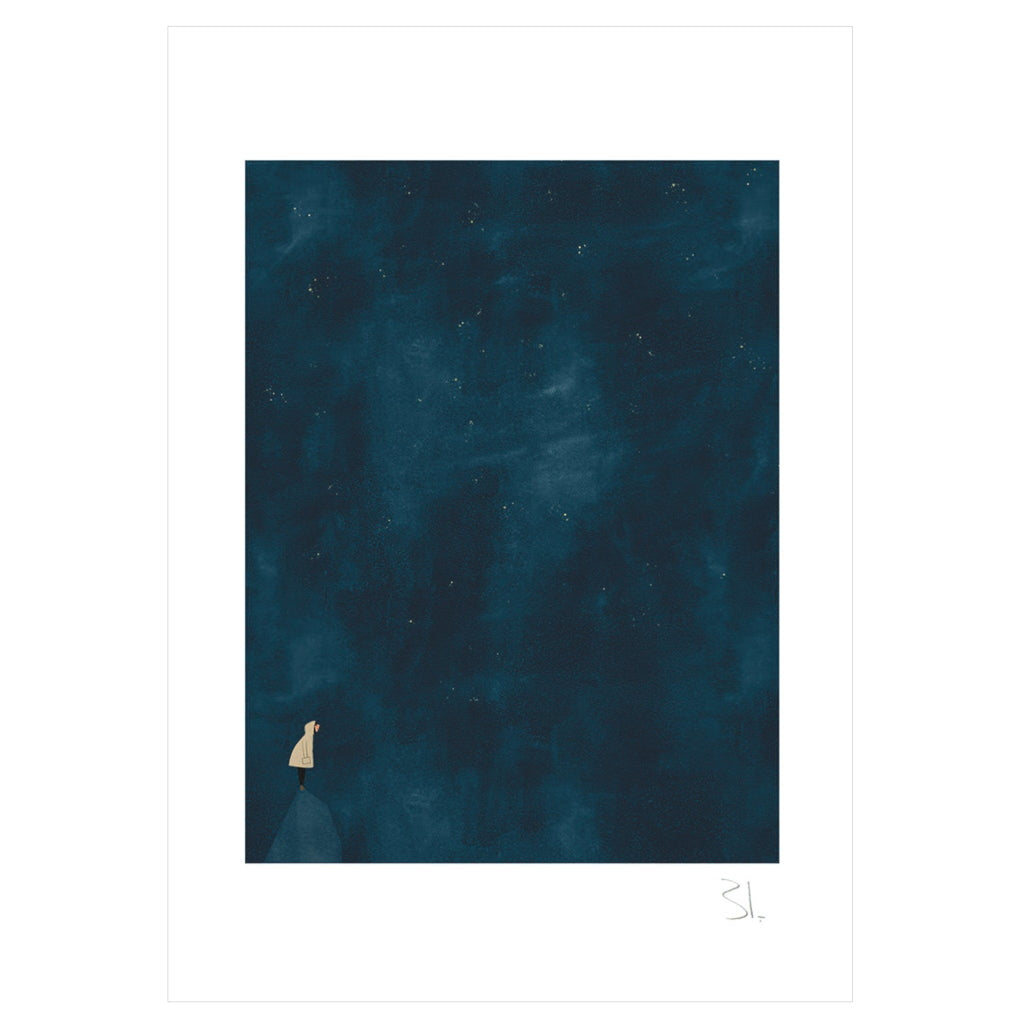 Cosmos Print - small pale figure against vast dark blue night sky