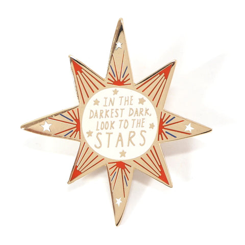 In the Darkest Dark Inspirational Message Star Shaped Gold Pin Badge
