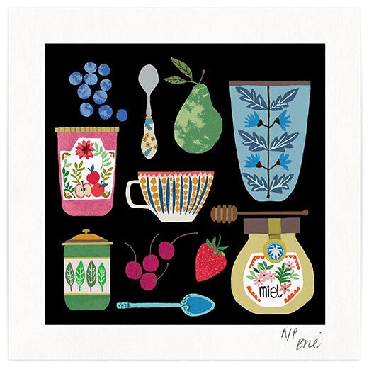 Vintage Kitchen Art Print - Illustration of crockery, conserves and fruit on black background