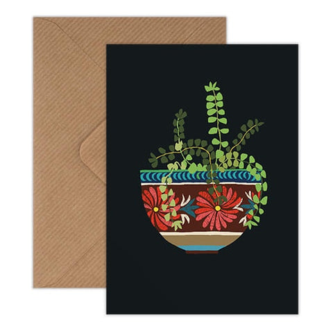 Mexican Bowl Greeting Card - Patterned Crockery And Green Houseplant on Black Background