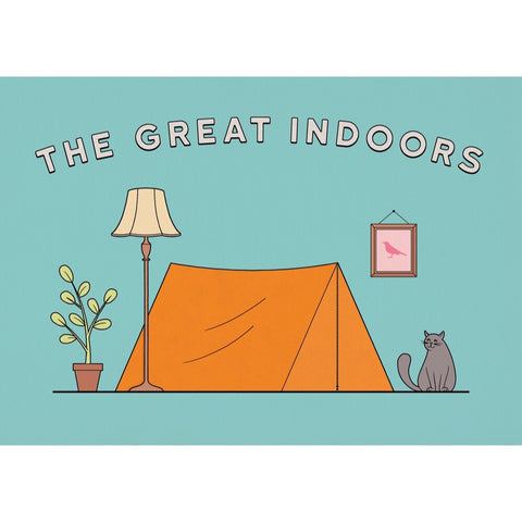 The Great Indoors illustration - orange tent on aqua blue background with cat, plant, lamp and bird picture.