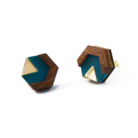 acrylic and wood hexagon stud earrings