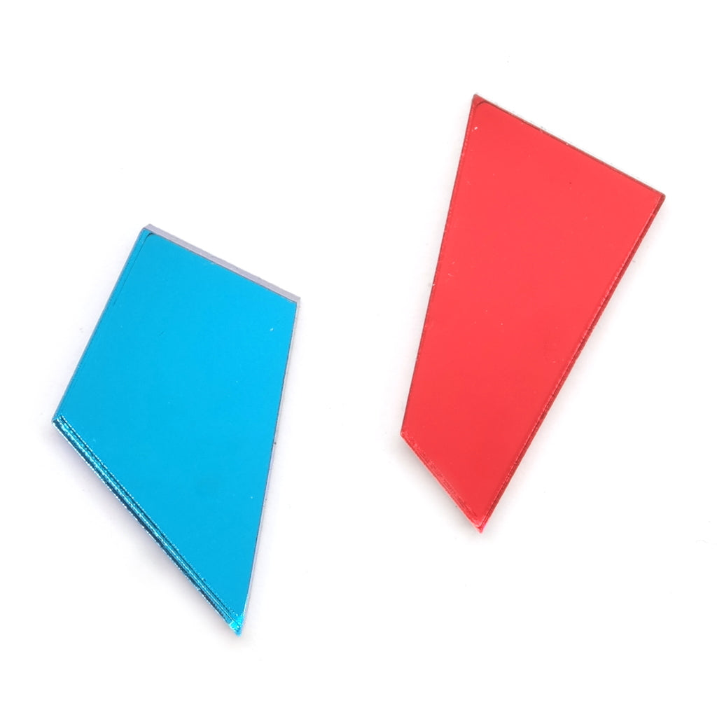 Asymmetric Shard Stud Earrings in Blue and Red Acrylic