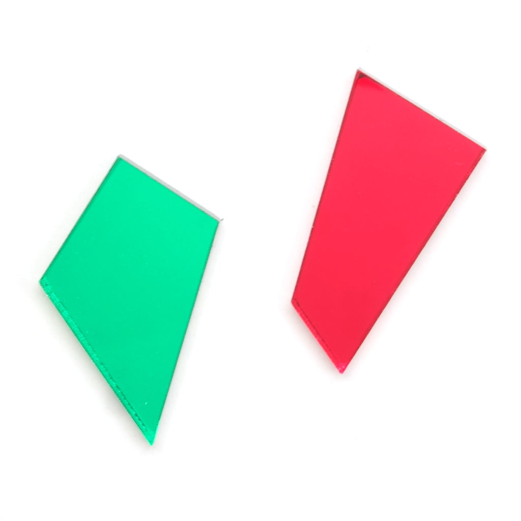 Asymmetric Shard Stud Earrings in Green and Red Acrylic