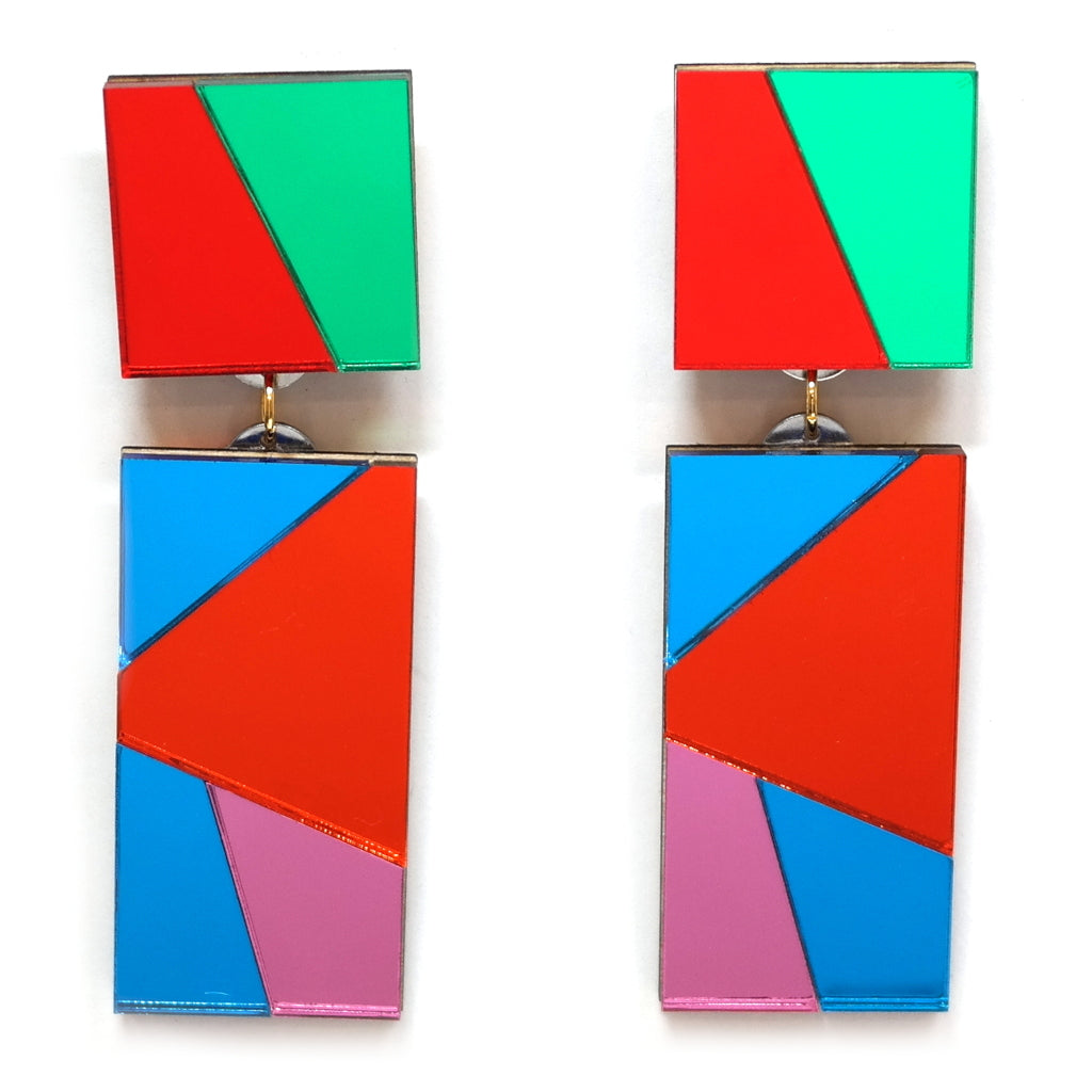 Chandelier Red and Green Mirror Acrylic Statement Earrings