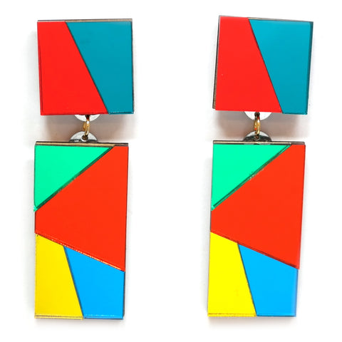 Chandelier Red and Turquoise Mirror Acrylic Statement Earrings