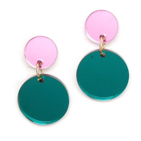 Double Circle Acrylic Earrings in Green and Pink