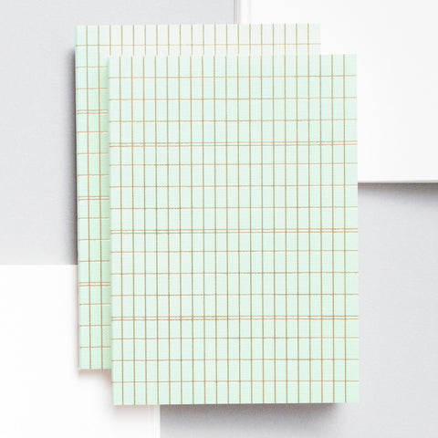 A6 Pocket Notebook in Brass and Mint Grid