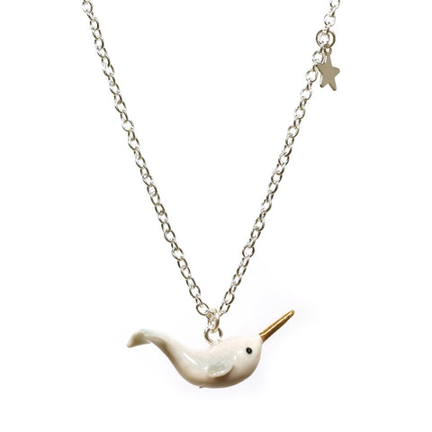 Folklore Ceramic Narwhal Necklace with Star