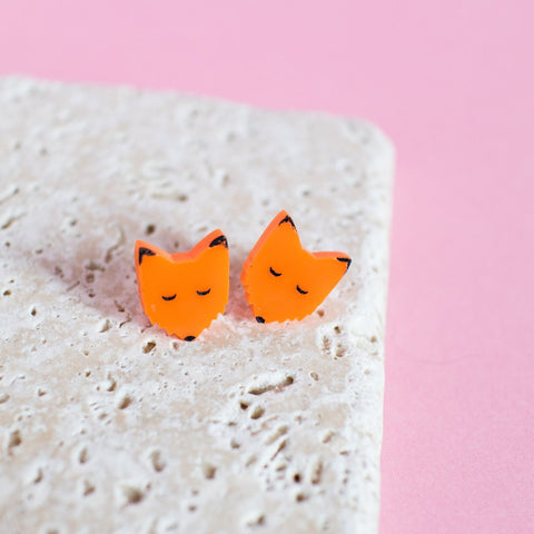 Orange Fox Earrings