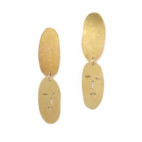 Brass Face Dangle Stud Earrings