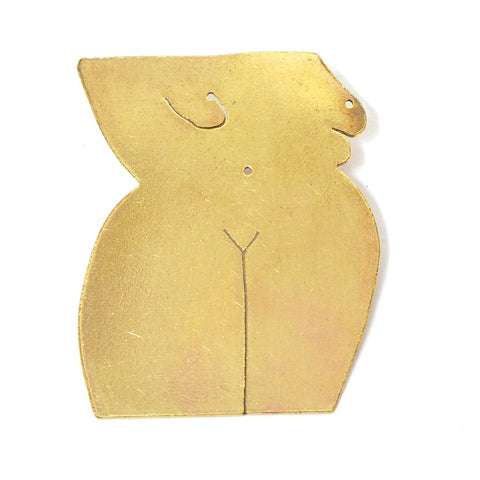 Large Nude Brass Pin Brooch