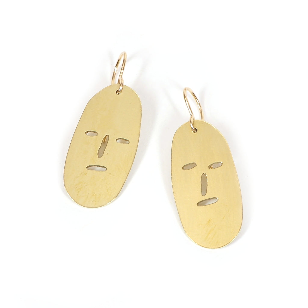 Simple Grump Earrings Grumpy Face Cut out of brass