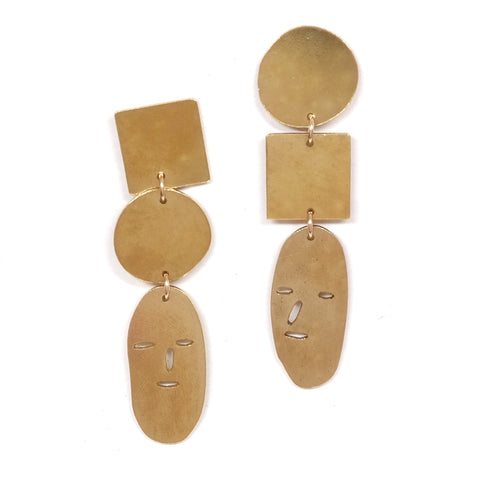 Shape and Face Brass Stud Earrings