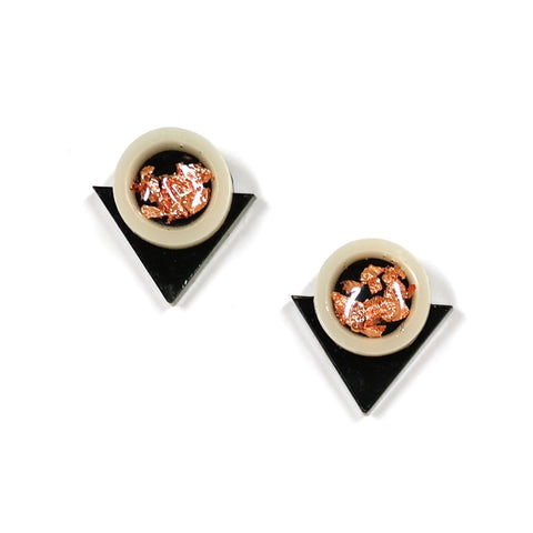 black copper acrylic geo circle and triangle earrings by rosa pietsch