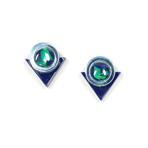 acrylic navy geo circle and triangle stud earrings by rosa piestch