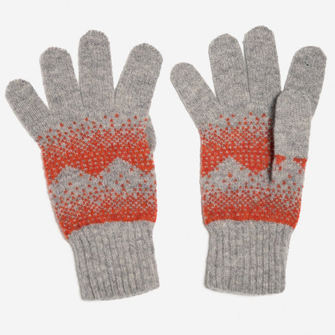 Sanna Lambswool Gloves in Light Grey and Red by Hilary Grant