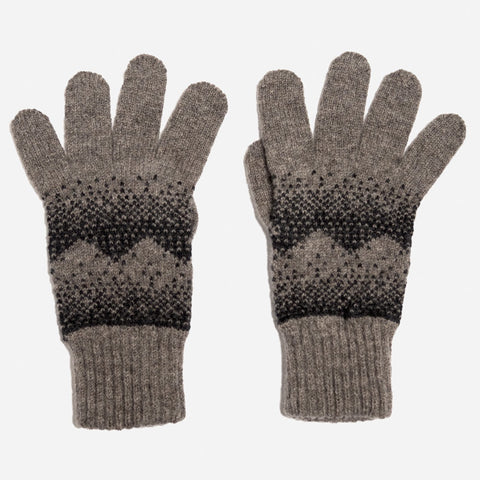 Sanna Lambswool Gloves in Vole and Charcoal by Hilary Grant