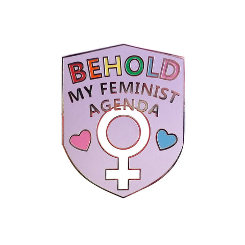 behold my feminist agenda purple shield enamel pin brooch