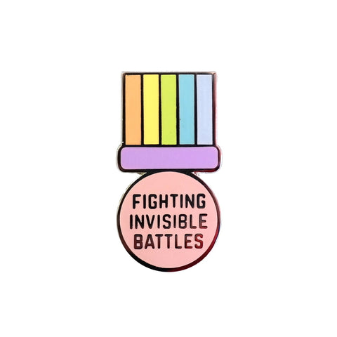 Fighting Invisible Battles Pastel Coloured Medal Enamel Pin