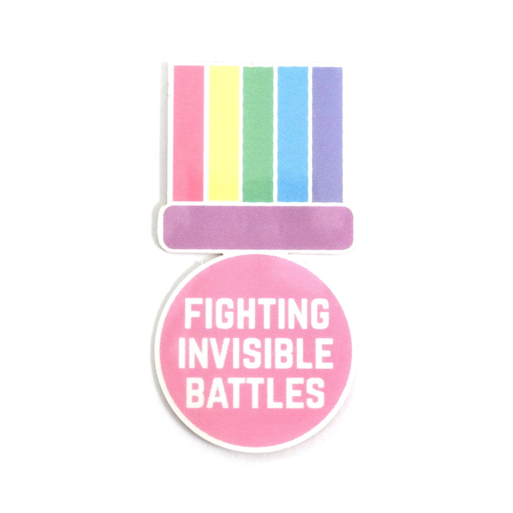 Fighting Invisible Battles Medal Sticker