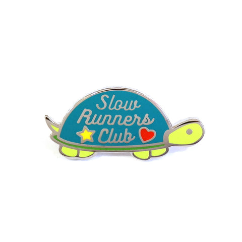 slow runners club cute turtle metal enamel pin brooch