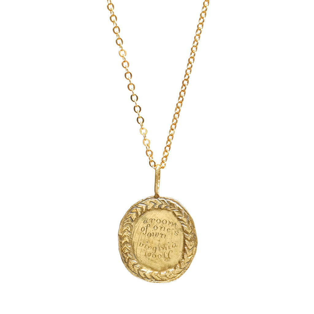 Virginia Woolfe A Room Of One's Own Rustic Coin Necklace Brass Close Up