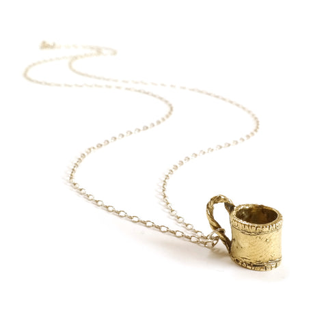 Tiny Brass Teacup Mug Necklace