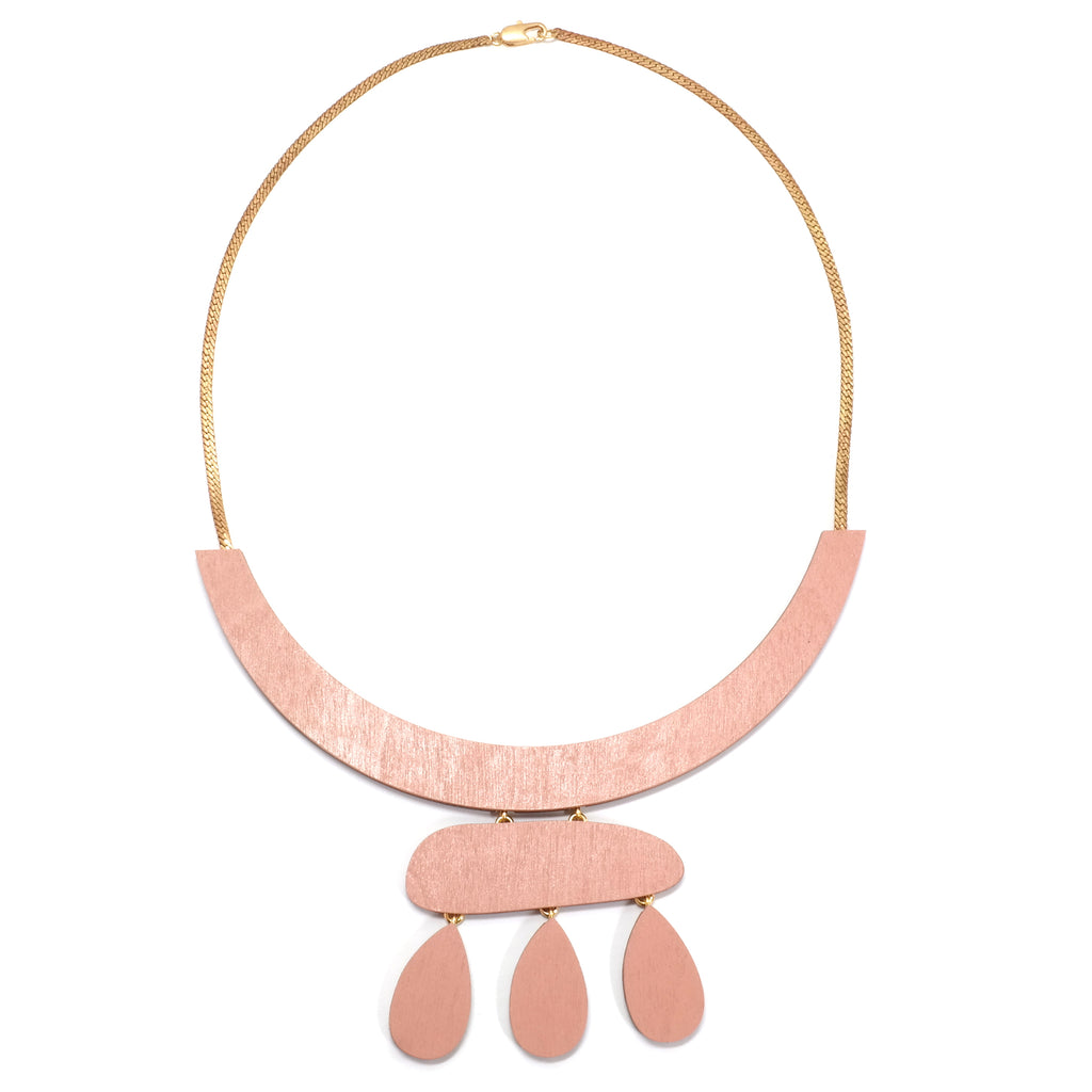 Wolf and Moon Cloud Statement Necklace in Blush Soft Pink