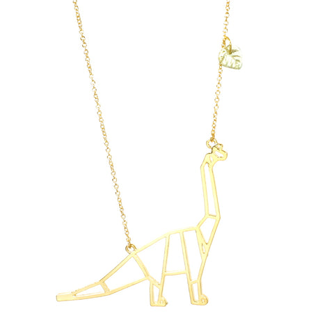 Brachiosaurus Dino-mighty Dinosaur Necklace Gold