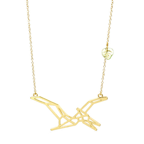 Pteradactyl Dinosaur Necklace Gold