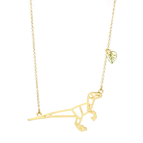 Velociraptor Dinosaur Necklace Gold