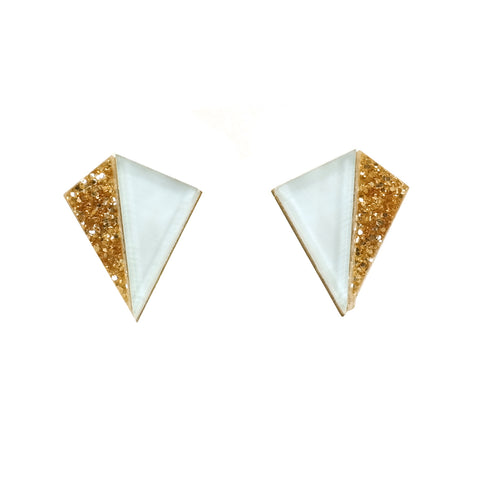 Little Pyramid Kite Earrings in Gold Glitter and Pale Blue
