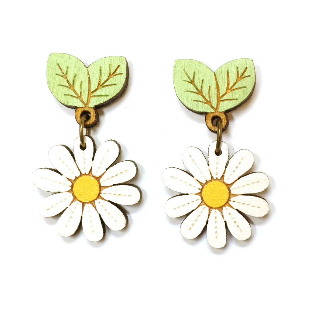 Pretty white wooden handpainted wild daisy drop earrings - white and yellow flower with green leaves