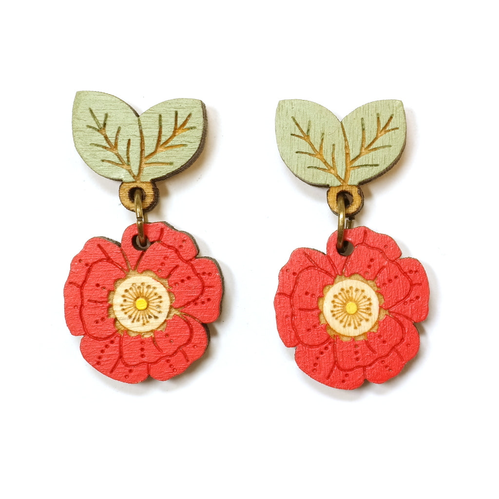 Wooden hand painted wild flower red poppy drop earrings with green leaves