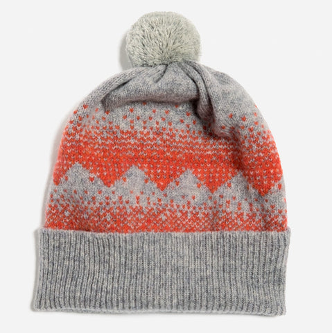 Sanna Pom Hat in Light Grey and Red