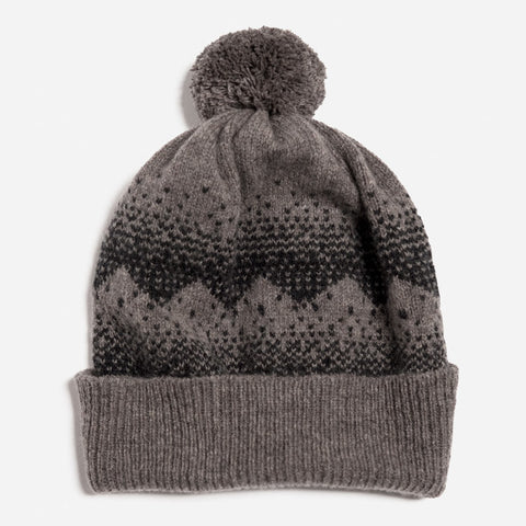 sanna lambswool pom hat in vole and charcoal by hilary grant
