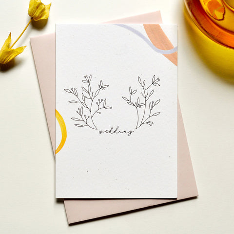 Floral Wedding Card with Pink Envelope