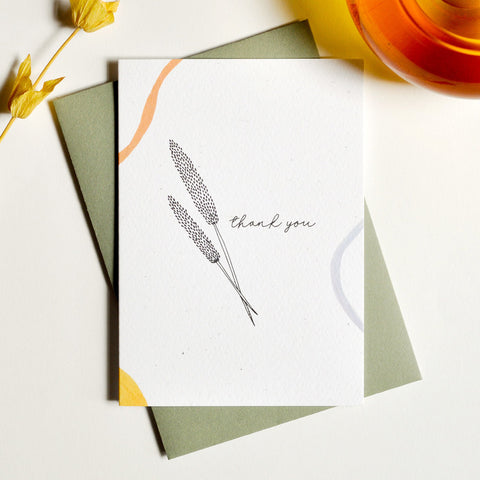 Preserve Wheat Illustration Thank You Card