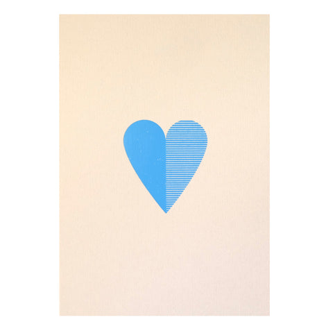 Heart Foil Card in Stone and Blue