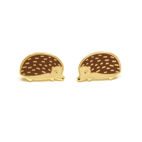 cute woodland hedgehog enamel stud earrings