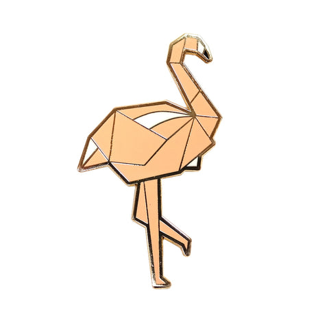 Pink Flamingo Origami Style Enamel Pin Metal Badge