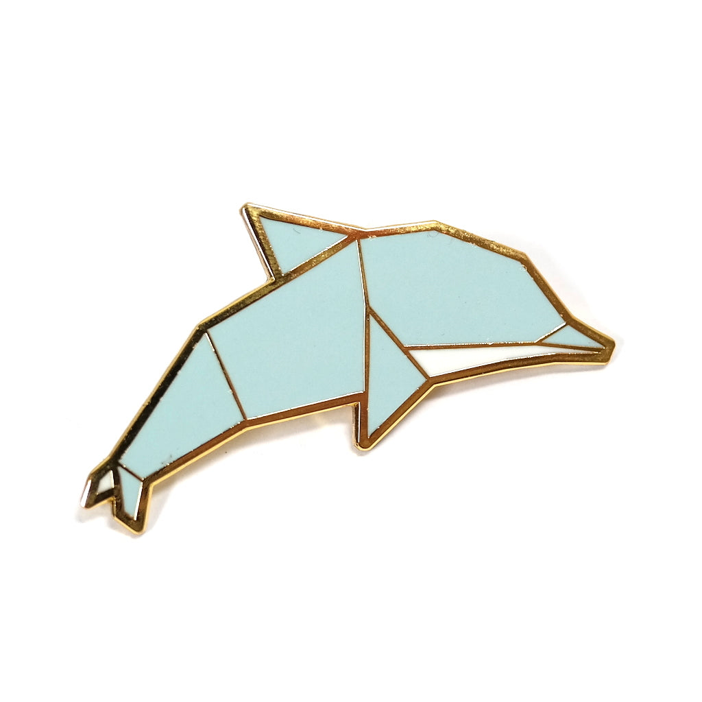 Blue Dolphin Origami Inspired Enamel Metal Brooch Pin