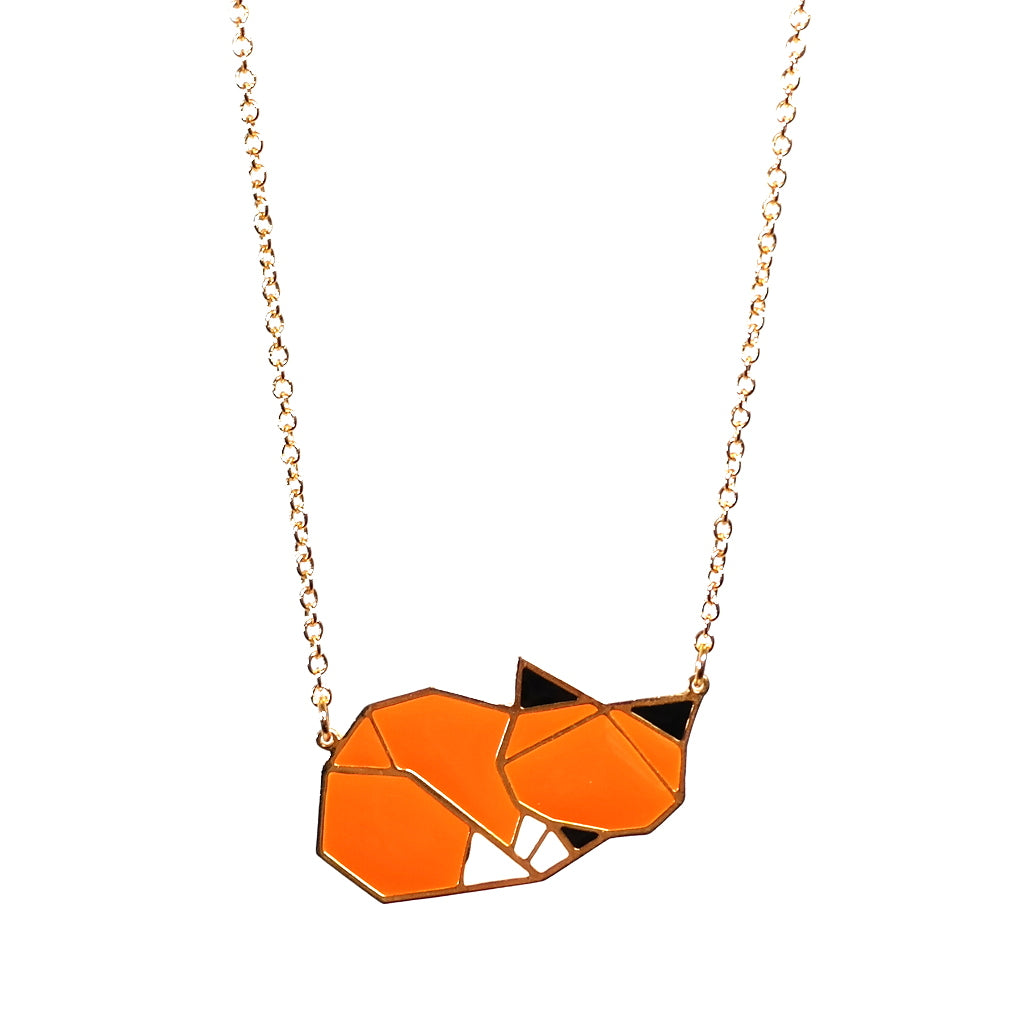 Cute Sleeping Fox Origami Inspired Orange Enamel Metal Pendant Necklace