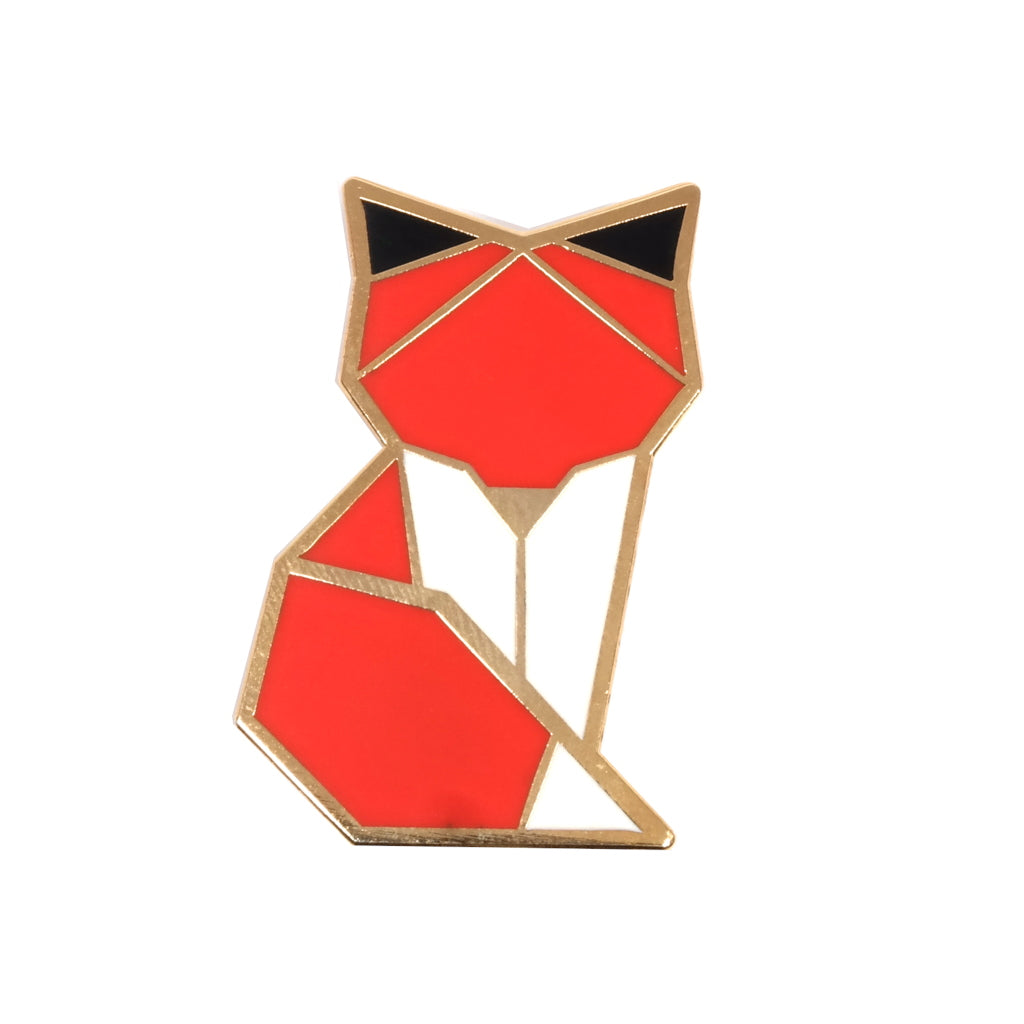 cute origami inspired orange woodland enamel pin brooch