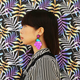 Heard it Through The Grapevine Bold Acrylic Grape Statement Earrings Model Image