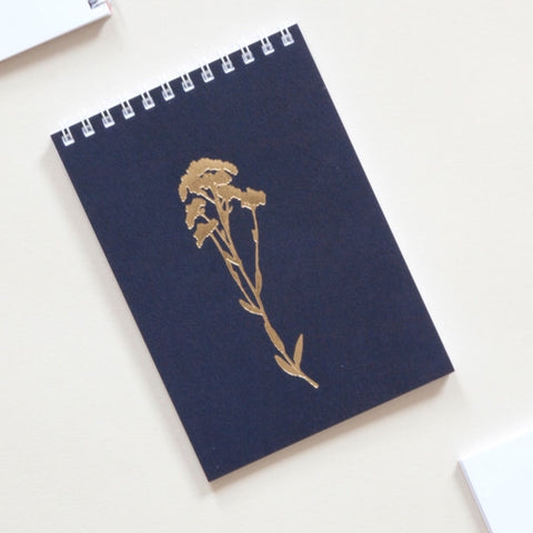 Alyssum Print Pocket Notebook in Brass and Navy